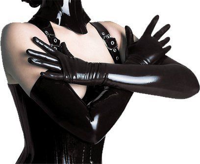 New Arrival Ladies Sexy Faux Leather Gothic Fetish Clubwear Gloves Hip-pop Jazz Five Fingers Long Gloves Black