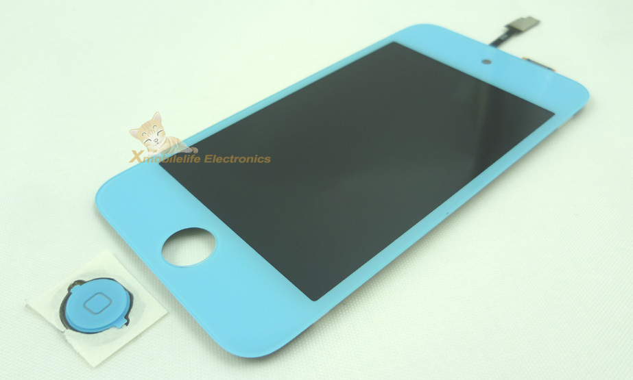 Sky Blue Colorful Touch Digitizer Touchpad Glass Screen LCD Display Assembly Home Button Key fr iPod Touch 4th 8GB 32GB 64GB(China (Mainland))
