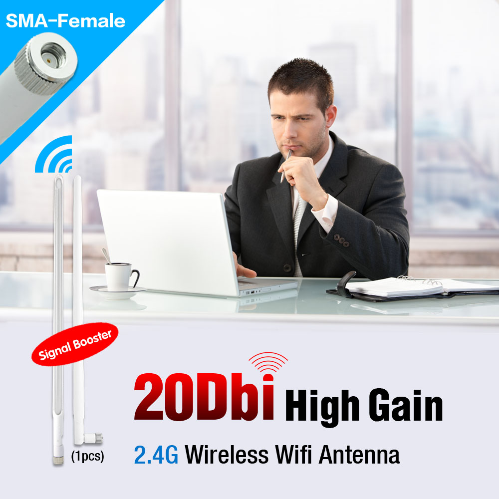 RP-SMA 20dBi 50W Power WIFI Booster Wireless Antenna WLAN RP-SMA PCI USB Modem Router 2.4GHz EL0428(China (Mainland))