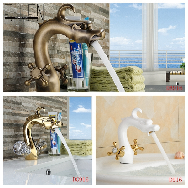 Bathroom dragon faucet copper white painted antique brass and gold finish water tap dual cross or crystal handle(China (Mainland))