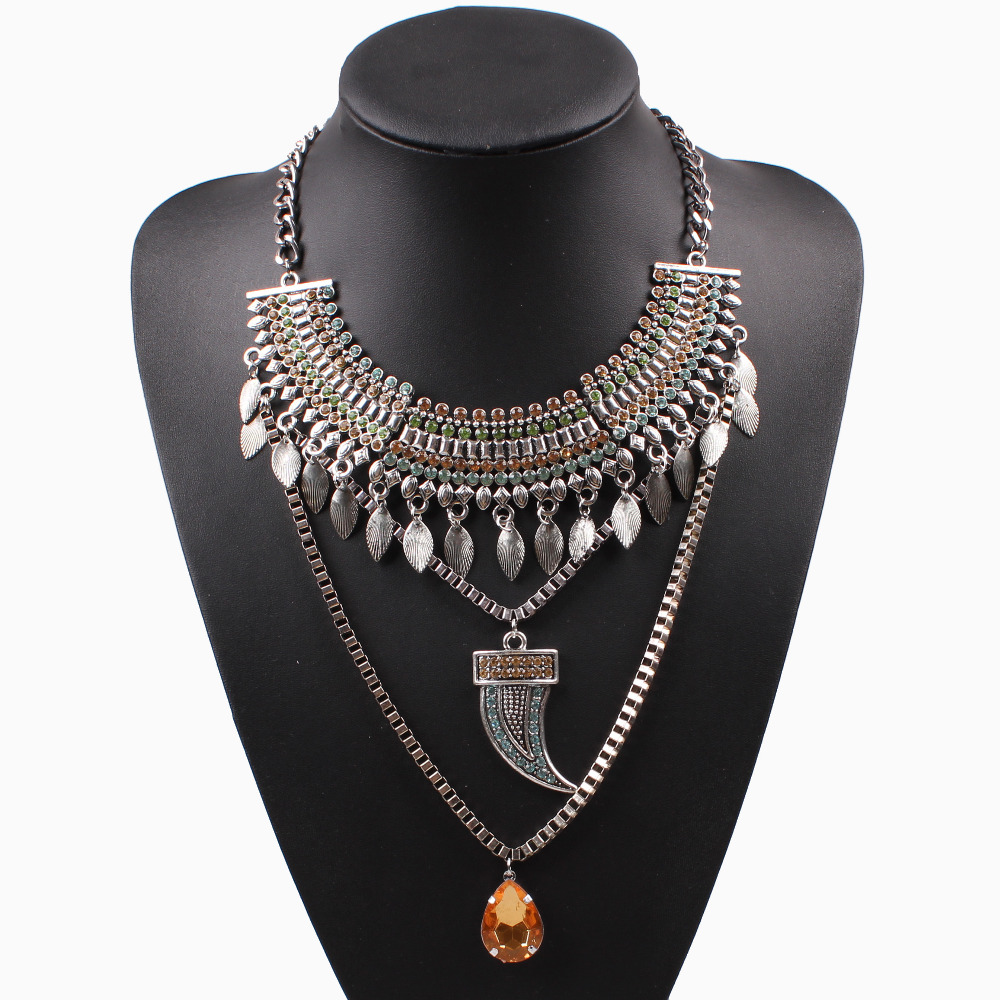 2016 new arrival design fashion brand necklace vintage chain crystal chunky statement pendant women necklace jewelry wholesale(China (Mainland))