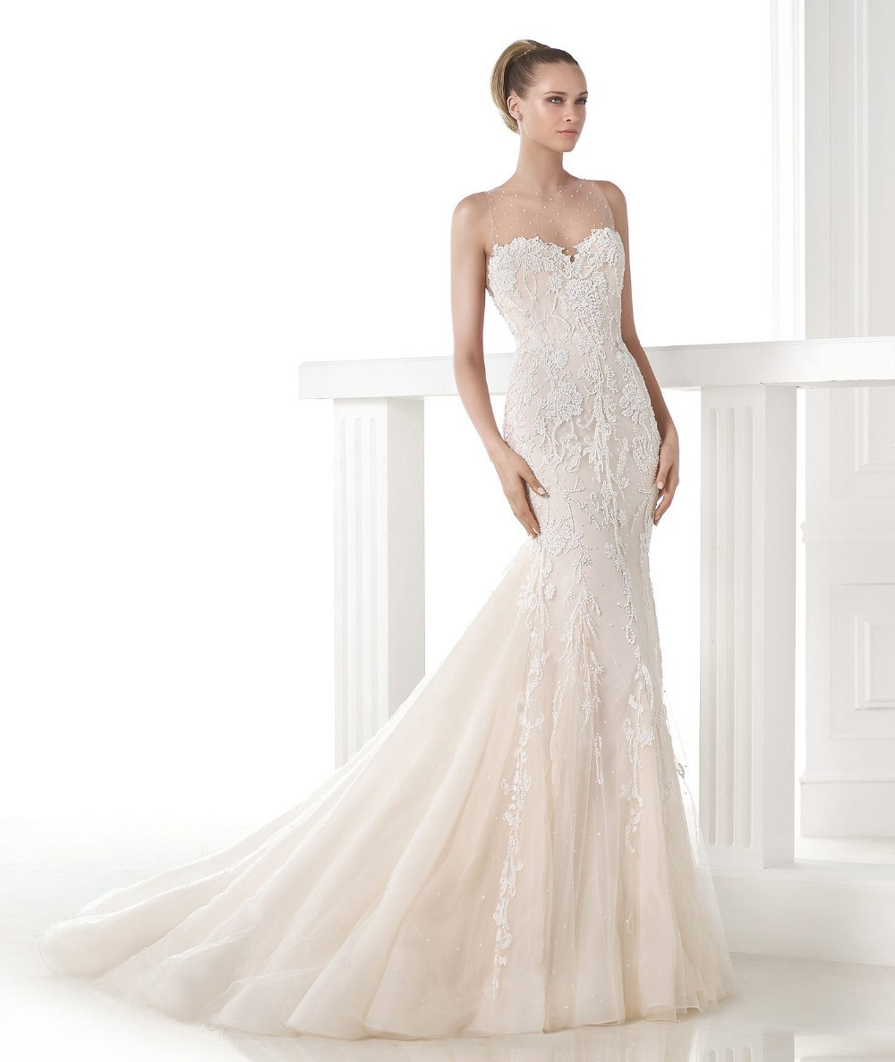 Romantic White Embroidery Mermaid Wedding Dresses Sweetheart Neck With Sheer Effect At The Front and Pearl Appliques On The Back(China (Mainland))