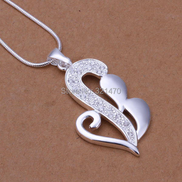 Free shipping!!!Brass Necklace,Jewelry Accessories, Heart, real silver plated, snake chain & with cubic zirconia, nickel(China (Mainland))