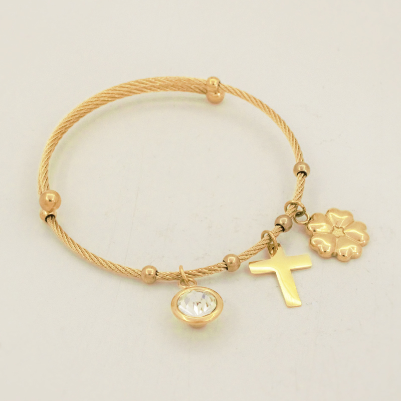 New Fashion Adjustable Stainless Steel Twist Wire Mesh With Lucky Clover/Cross Bracelet Bangle For Women Fashion Jewelry(China (Mainland))