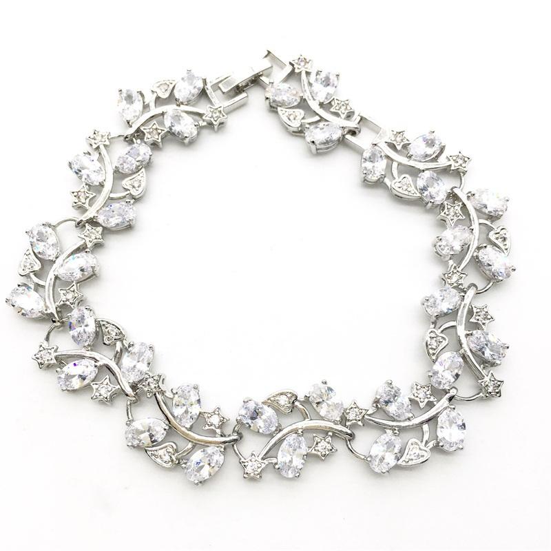 New Style Tree Leaf Sterling Silver Chain Bracelet & Women white Garnet White Topaz Zircon Jewelry 8INCH 20CM Free shipping(China (Mainland))