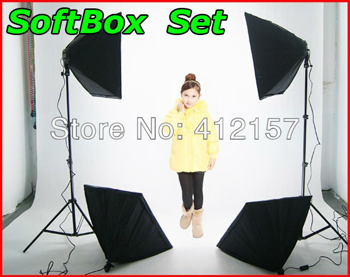 Free tax Russia Photography Rectangle Continuous Lighting Kit 50x70cm Softbox Light Holder Stand Photo Studio Equipment set - universal direct store