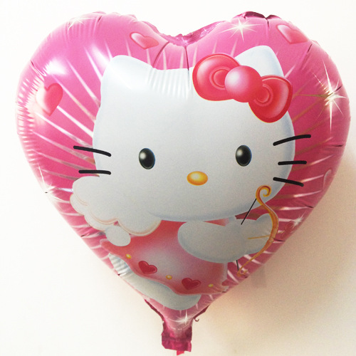 Children's toys balloon helium balloon foil hearts pink KT cat pattern pink red heart shaped(China (Mainland))