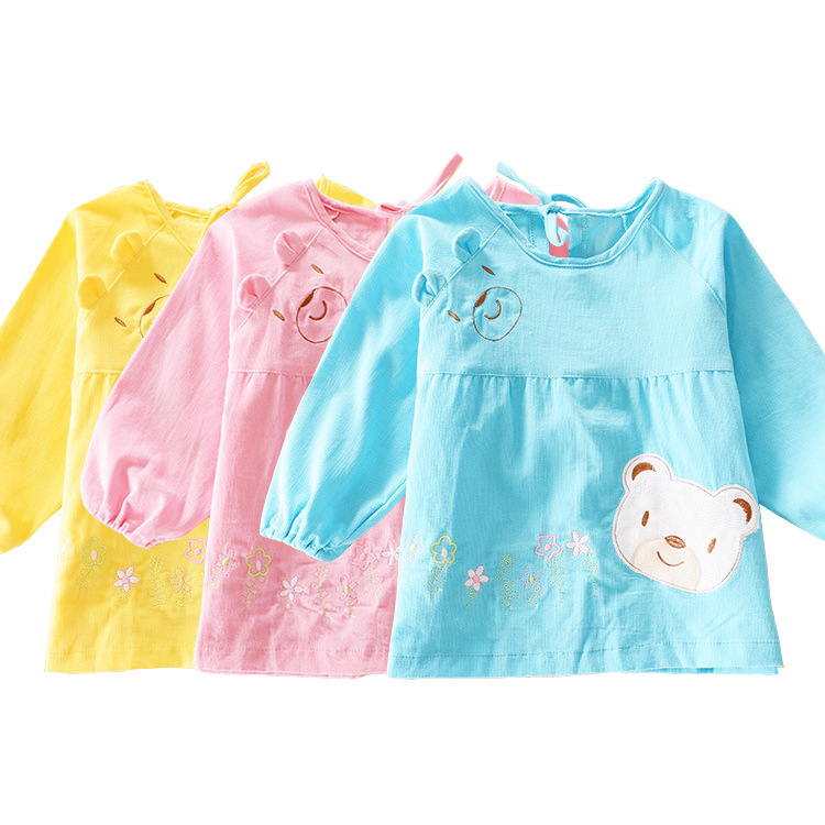New Toddler Coverall Feeding Baby Long Sleeve Bib Apron With Cute Animals And Waterproof Backing Saliva Burp Apron Overclothes(China (Mainland))