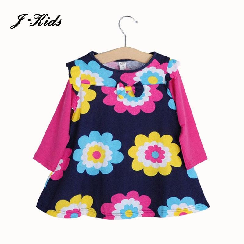Купить Детские товары  Spring autumn dress 2015 girls dresses new free shipping for 2-6 age bow floral Girls Princess Party Bow Kids flower Dress None