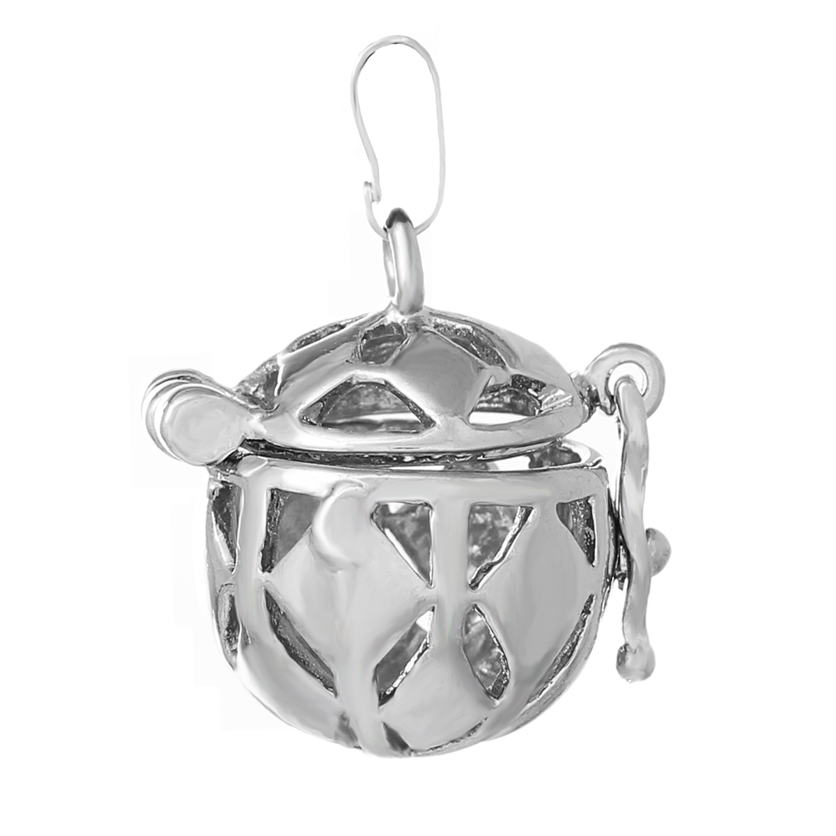 """DoreenBeads Copper Prayer Box Pendants Silver Tone Round Hollow Rhombus Carved Can Open 25mm(1"""") x 20mm( 6/8""""),2 PCs 2016 new(China (Mainland))"""