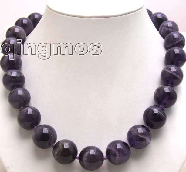 Big 18mm Round shape Amethyst gemstone beads necklace 17 -nec5506  wholesale/retail Free shipping<br><br>Aliexpress