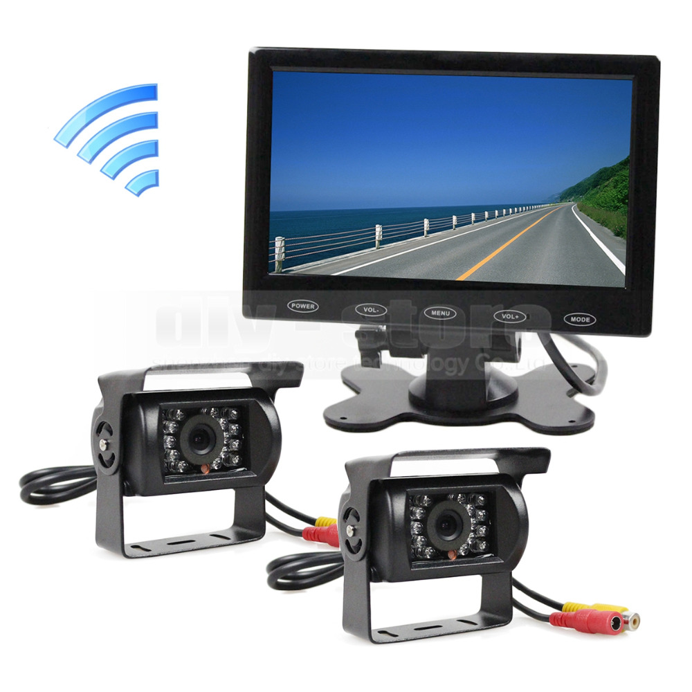 "12V DC Wireless Rear View Kit Backup Waterproof CCD Camera Kit System 7"" Touch Monitor for Horse Trailer Motorhome(China (Mainland))"