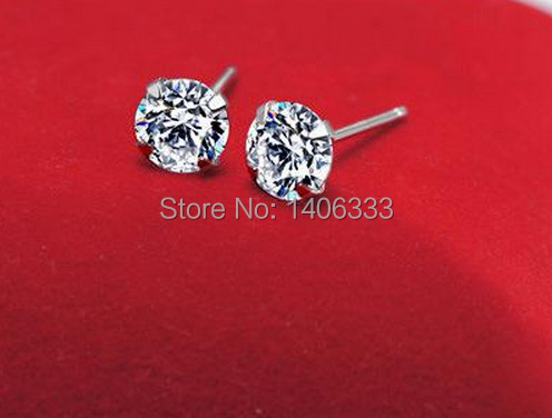 Гаджет  Four Prong Stud Earrings 925 Sterling Silver fashion jewelry vintage crystal high quality earrings for women ED30 None Ювелирные изделия и часы