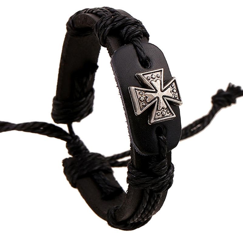 Fashion bracelets for men Flax Rope leather art Cross alloy bracelet personality Casual vintage punk bracelet hand woven(China (Mainland))