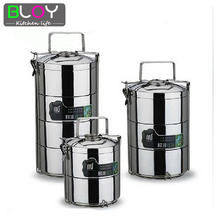 3 layer Large 2.8L 1 pcs Stainless Steel  Lunch Box dinnerware Sets Food Container  bento Lunchbox Thermos(China (Mainland))