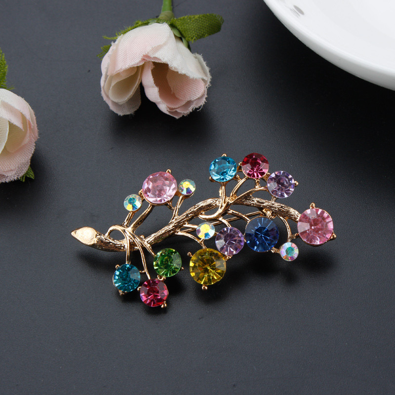 Fashion Color Rhinestone Brooches Plant Costume Jewelry For Women 2016 Alloy Brooches Brooch Pins Jewelry Plant Brooches BR1030
