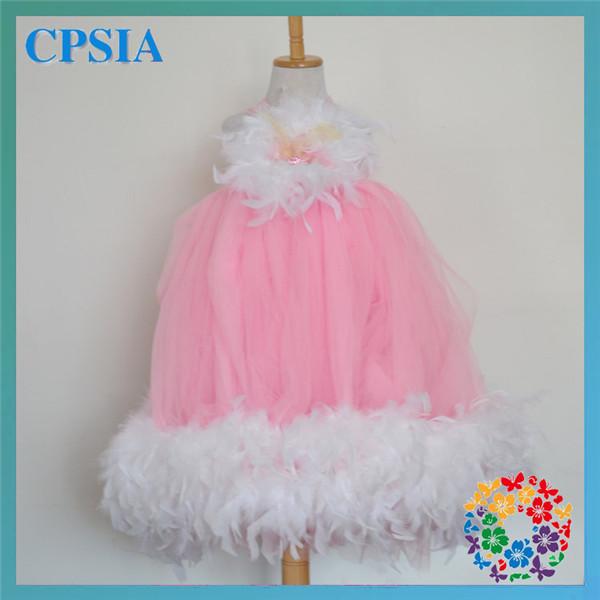Fashional Bonnie Beaded Pink Feather Wedding Tutu Dress & Match Headband 6pcs/lot(China (Mainland))