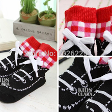 Baby Anti slip Short Stocks Infant Shoes Shape Stripe Cotton Socks 0 4Y
