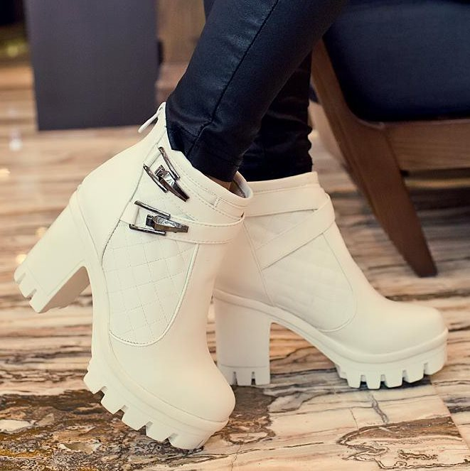 Ladies shoes Women boots Ankle boots High heels Platform Buckle Plaid Leather shoes Zapatos mujer Fashion Sexy Design for women(China (Mainland))