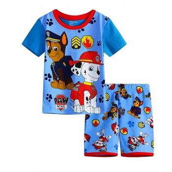 Belababy New Boys Cartoon Pijamas Kids Summer Princess Girls Short Sleeve Cotton Pajamas Children Sleepwear Set
