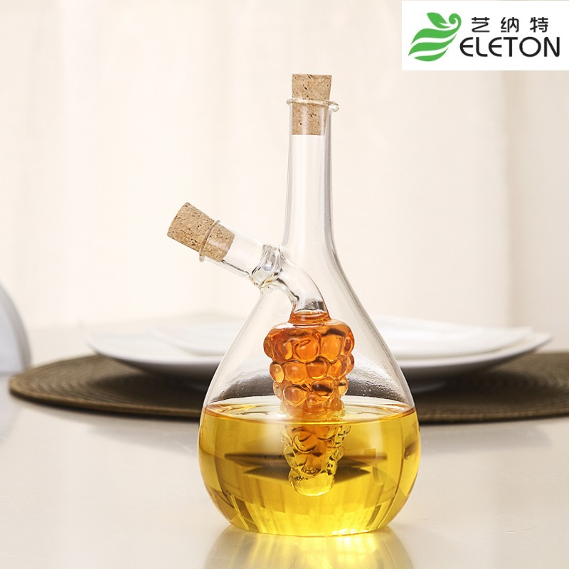 manual blowing oil and vinegar bottle oiler soy sauce and vinegar cruet glass bottle seal grape shape(China (Mainland))
