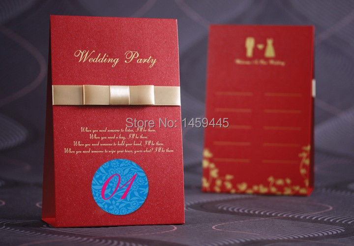 wedding table cards wedding Place Card Holders Red Ribbon table cards paper SAMPLE(China (Mainland))