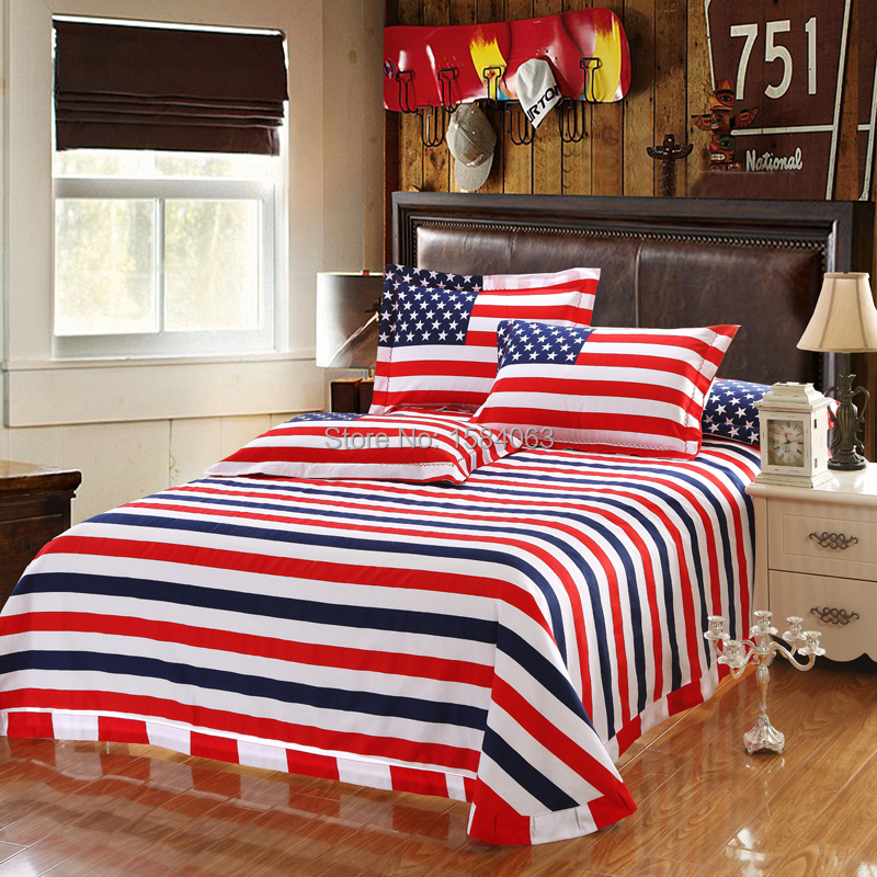USA flag bedding set king size American Pie cotton bed sheets bedspread  duvet cover pillow case. sheet linen Picture   More Detailed Picture about USA flag bedding