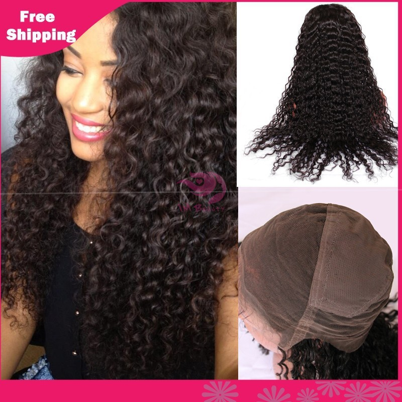 Full Lace Human Hair Wigs Brazilian Deep Wave Lace Front Wigs brazilian hair wigs Natural Color Full lace wig for black women(China (Mainland))