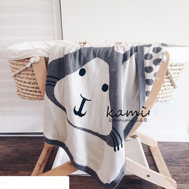 NEW INS Hot 90*120cm Fox Knit Blanket Baby Rabbit Blankets Soft Cotton Handmade Crochet Blanket Kids Animals Baby Wrap Blankets(China (Mainland))