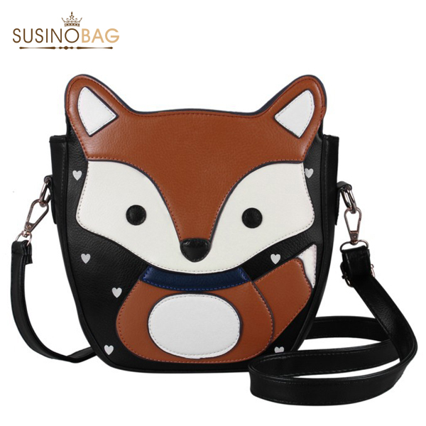 New 2014 Lovely Cartoon Fox Women Messenger Bags Top Quality Sweet Women Leather Handbags Campus Trendy Women Bag(China (Mainland))