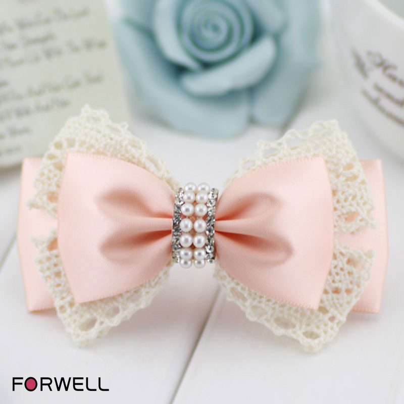 Handmade hair clip for DIY sweet barrettes lace with beaded rhinestone fashion hairpins head flower hair accessories for girls(China (Mainland))