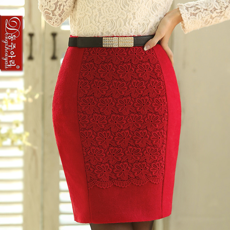 women's woolen short skirt lady red all-match bust skirts female slim fashion solid hip wtih waistband - Fashion and Romantic Store store
