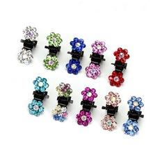 12 pcs/lot  Crystal Flower Mini Hair Claw for Girls Colorful Rhinestone Ornament Hair Accessories for Korean Hair Clips HW128