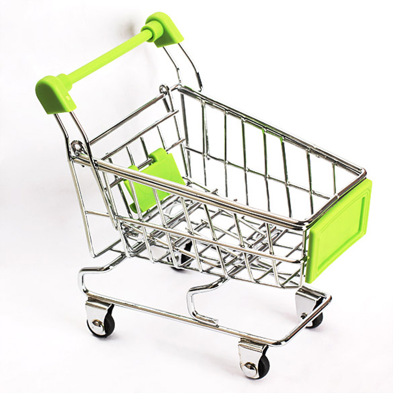 1pc Cute Baby Kid Model Toy Gift Mini Supermarket Handcart Shopping Utility Cart Model Storage Toy Green New FCI#(China (Mainland))