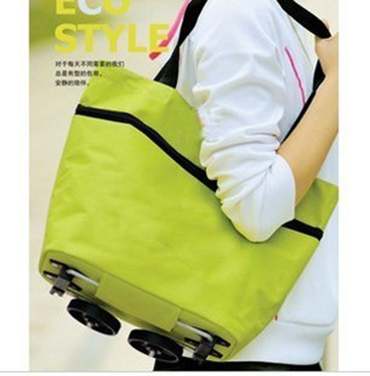 Oxford cloth zipper manufacturers supply portable folding bag shopping bag advertising tug wheels(China (Mainland))