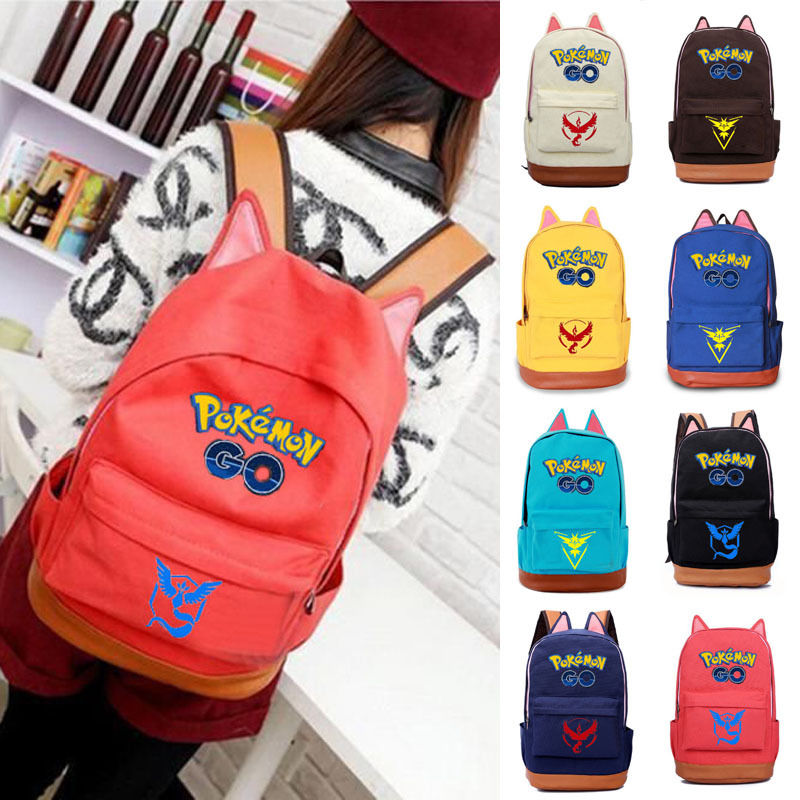 font b Pokemon b font font b Go b font Womens Mens Backpack School bag