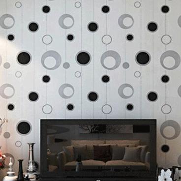 Black white / Grey silver circles wallpaper modern simple pvc vinyl bedroom wallpaper tv background wallcovering wallpaper(China (Mainland))