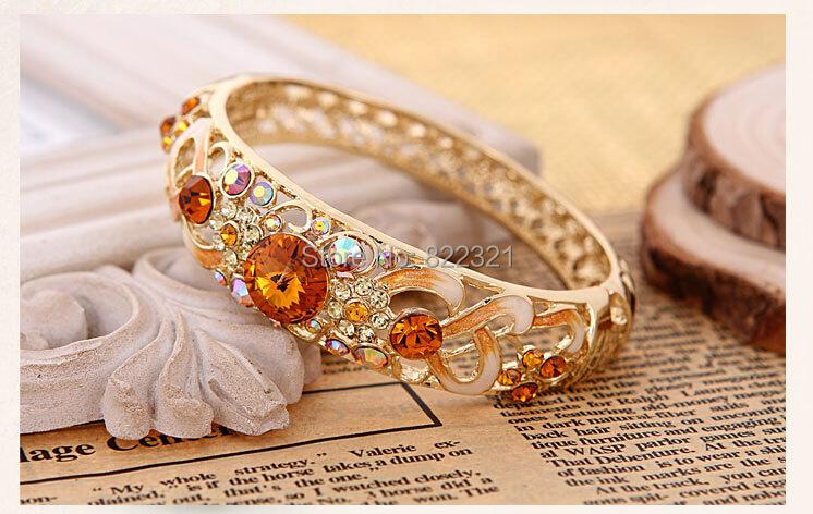 Free shipping Famous Luxury Brand Vintage Gold plated Crystal Zircon Rhinestone Shamballa Charm Bracelet Bangle Gift BWS183(China (Mainland))