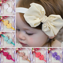 Baby Girls Bow Headbands Bowknot Elastic Headwear Kids Hair Accessories 2015 New Fashion Style Hot Sell Extension W058
