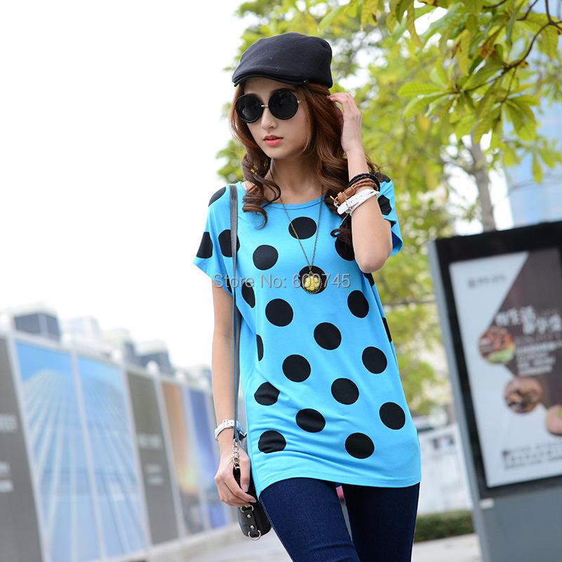 new 2015 summer tshirts nice polka dot printing t shirt women tops plus size clothing XL XXL 3XL 4XL 5XL 6XL t-shirt wholesaler(China (Mainland))