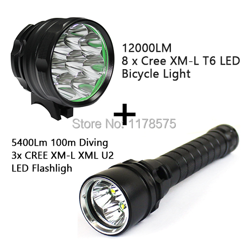 Free Shipping Best Selling Combo 12000LM 8 x Cree XM-L T6 LED Bicycle Light 5 Mode/3 modes with LED Diving Flashlight---FL05323(China (Mainland))