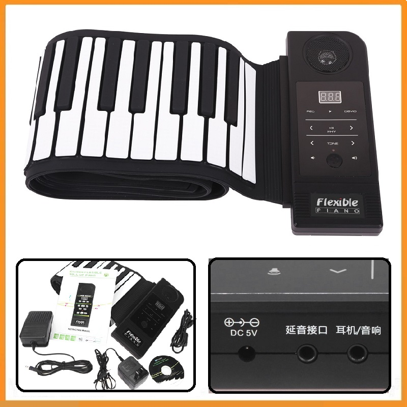 Brand New 88 Keys Flexible Electronic Piano Keyboard Silicon Roll Up Piano USB Port with Sustain Pedal Loud Speaker(China (Mainland))
