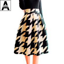 Korean version of the new winter fashion retro floral pleated skirt skirts in women's skirts Fan art floral pleated A-line skirt