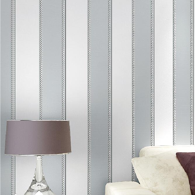 Acheter moderne 3d st r o papier peint rayures gris brun 3d relief non tiss - Dimension rouleau papier peint ...