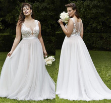 Buy C.V Custom made plus size sleeveless lace wedding dress 2017 short tail vintage long bridal gown white color for $75.65 in AliExpress store