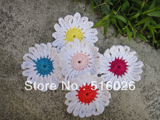 """wholesale 2"""" hand crochet flower appliques for DIY, daisy bows, headband, boutique patches, handcrafts 200pcs/lot 2"""""""