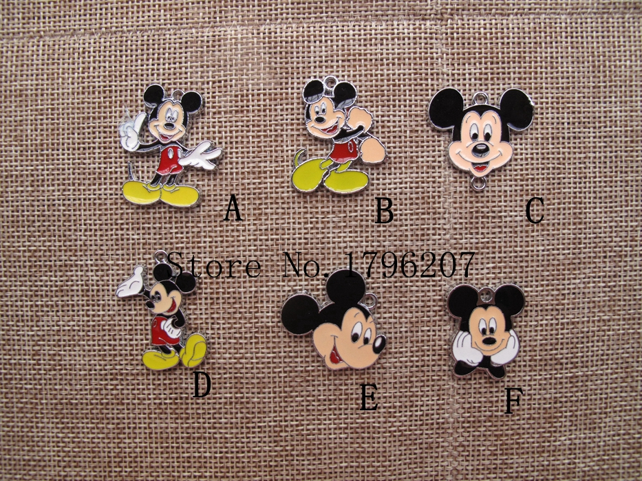 Hot Sale 100 pcs Mix Cartoon Mickey Death Note Charm Pendants DIY Jewelry Making Accessories For Best Gift Toy SZ18(China (Mainland))