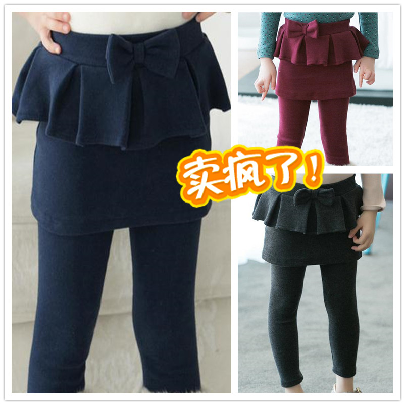 2014 spring female child culottes legging layered bow trousers knit pants pencil kids