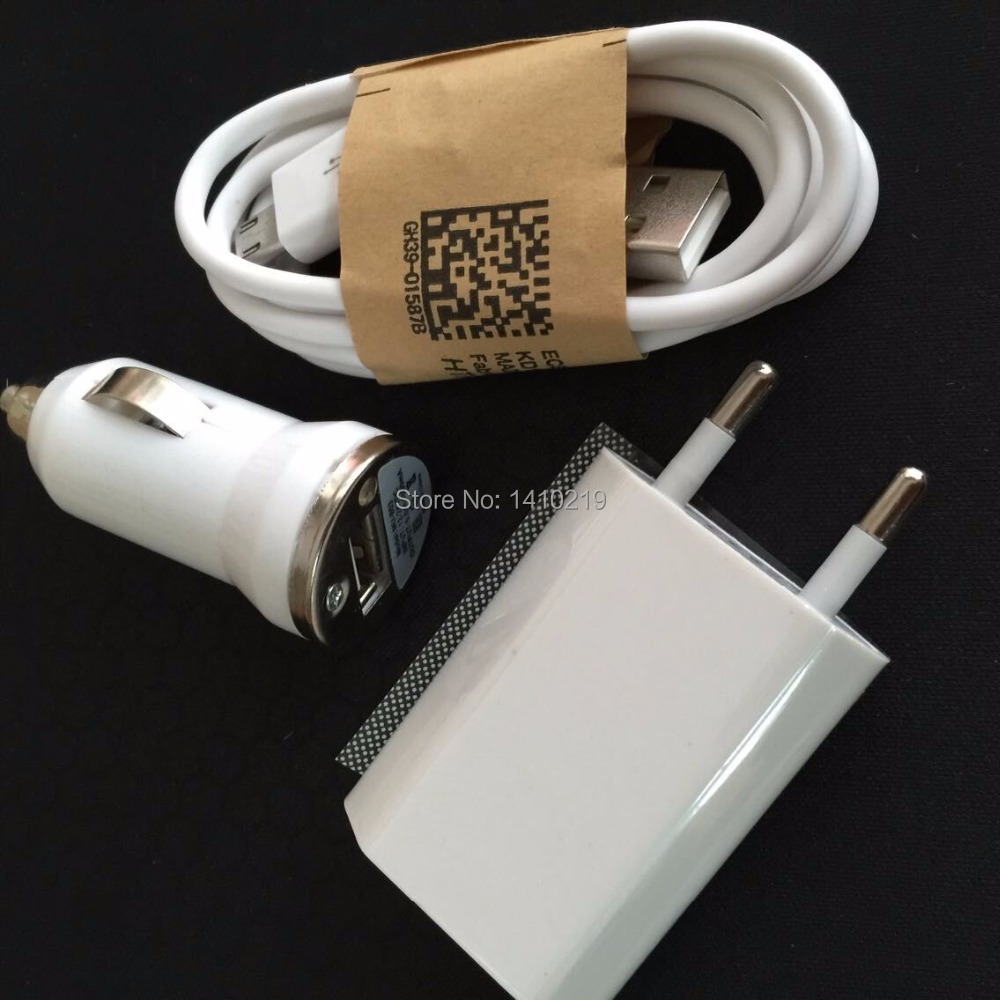 3 in 1 1pcs EU Plug wall charger + 1A usb Car charger + 1pcs micro v8 USB Cable for Samsung Galaxy s2 S3 S4 i9500 i9300