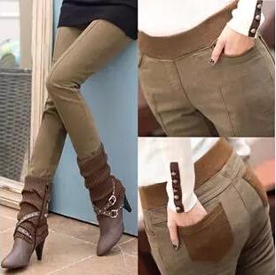 Plus Size 3XL Formal Pants Women Khaki Thicken Legging Trousers Autumn Slim Skinny Jeans Boot Cut Harem Sweatpants(China (Mainland))